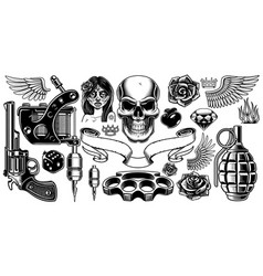 set of tattoo art vector image