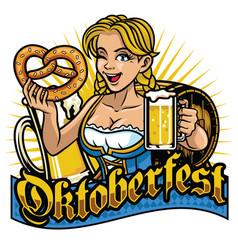 sexy bavarian girl celebrating oktoberfest vector image