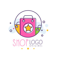 shop original logo template bright sale badge vector image
