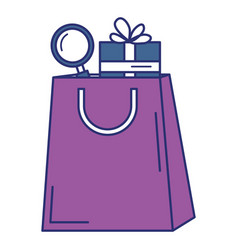 Shopping bag with gift and magnifying glass vector