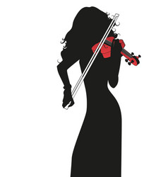 silhouette female violinist playing a red vector image