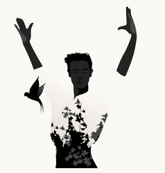 Silhouette of spanish flamenco dancer man and vector