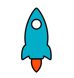 simple line icon rocket start up business sign vector image