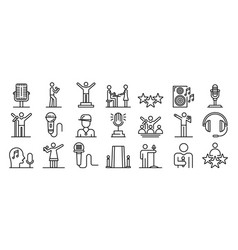 Singer icons set outline style vector