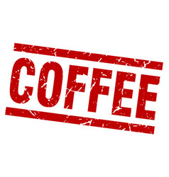 Square grunge red coffee stamp vector