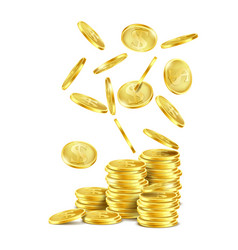 Stack of gold coins and falling metal money vector
