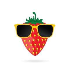 Strawberry with sunglasses cartoon in colorful vector