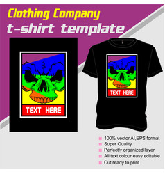 T-shirt template fully editable with skull vector
