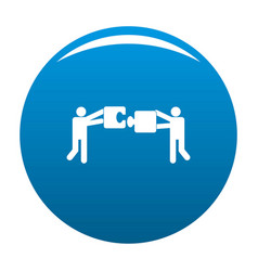 teamwork with puzzle icon blue vector image