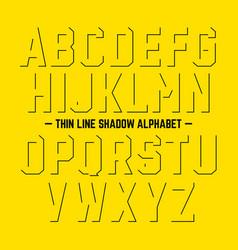 thin line shadow alphabet vector image
