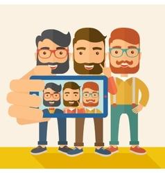 Three men taking selfie vector image