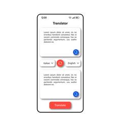 Translator online smartphone interface template vector