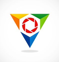 Triangle video lens abstract logo vector