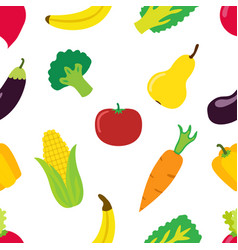 Vegetable pattern in flat style bright healthy vector