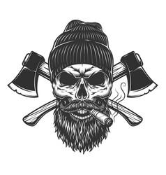 Vintage lumberjack skull in beanie hat vector