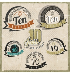 Vintage style 10 anniversary sign collection vector