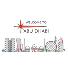Welcome to abu dhabi poster in linear style vector