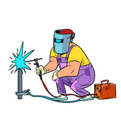 welder worker welds material construction vector image