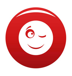 Winks smile icon red vector