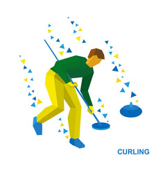 Winter sports - curling player clear way to stone vector