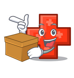with box cross character cartoon style vector image