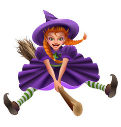 woman witch flies on broom masquerade halloween vector image