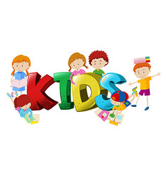 Word design with boys and girls in background vector image