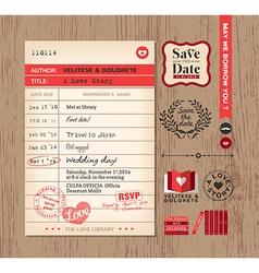 Library card creative Wedding Invitation design vector image