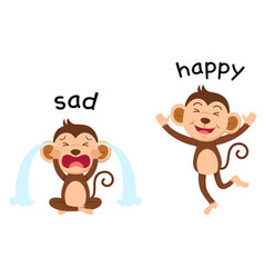 opposite words sad and happy vector image vector image