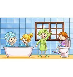 People using bathroom together vector image