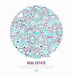 real estate concept in circle vector image