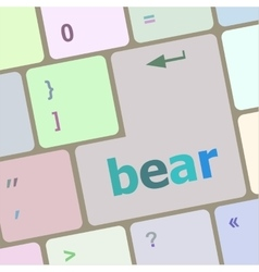 bear word on keyboard key notebook computer vector image vector image