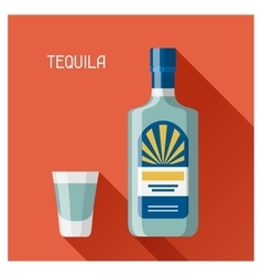 Bottle and glass of tequila in flat design style vector image