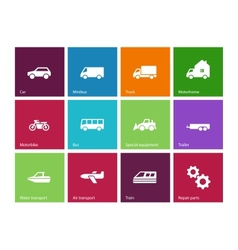 Cars and Transport icons on color background vector image vector image