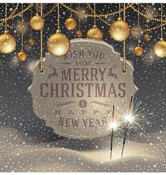 Christmas greeting signboard and baubles vector image