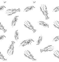 doodle lobster pattern vector image vector image