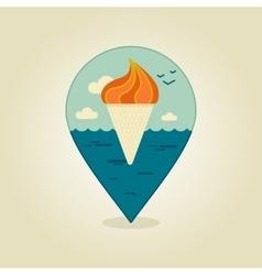 Ice Cream pin map icon Summer Beach Sun Sea vector image vector image