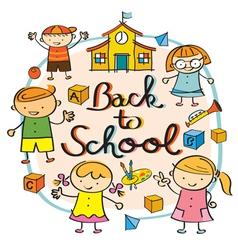 Kindergarten Kids Back to School Heading vector image
