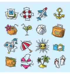 Summer vacation icon set vector image vector image