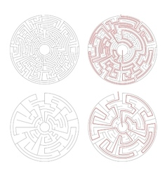 Two round mazes of medium complexity on white with vector image