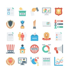 Vote and Rewards Colored Icons 3 vector image
