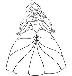 Caucasian Princess Coloring Page vector image vector image