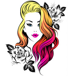 girl hairstyle vector image vector image