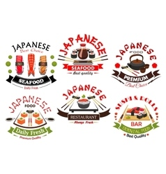 Japanese sushi bar or restaurant symbol set vector image vector image