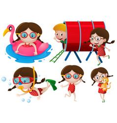 little girls doing many activities vector image vector image
