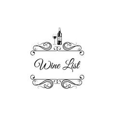 menu wine design wine bottl glass swirls vector image vector image