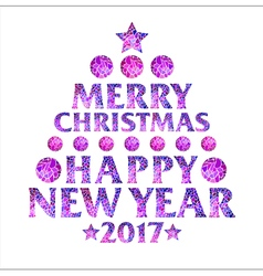 Mosaic inscription in the form of a Christmas tree vector image vector image