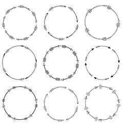 Set of arrow borders tribal frames vector image vector image