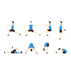 Stretching Exercise Set with Man Flat vector image vector image