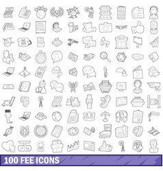 100 fee icons set outline style vector